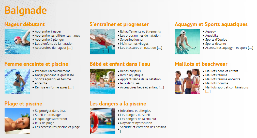 Articles natation Guide-piscine